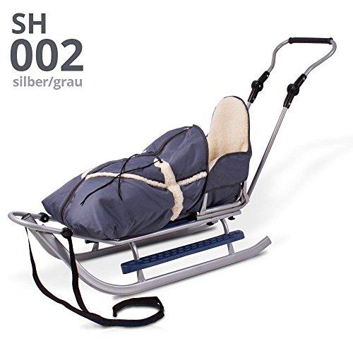 Schlitten Rodelschlitten Babyschlitten mit Rückenlehne, Fußsack und Schiebestange (silber-grau)