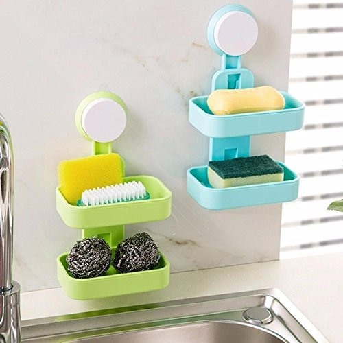 PETRICE Double Layer Soap Box Suction Cup Holder Rack Bathroom Shower Soap Dish Hanging Tray Wall Holder Storage Holders (Colour May Vary).