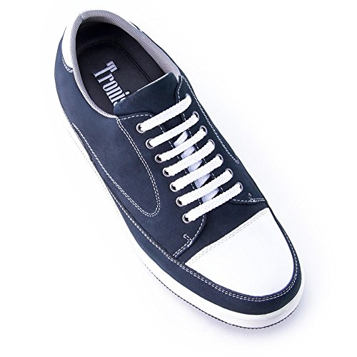 Zapatos de Hombre con Alzas Que Aumentan Altura Hasta 7 cm. Fabricados EN Piel. Modelo Turin Azul 42