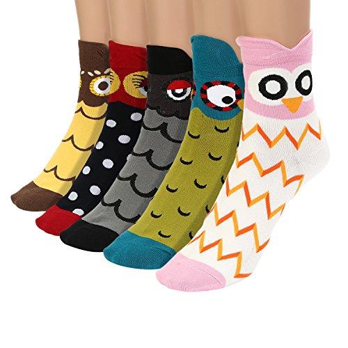 Damen Maedchen Stricken Socken Baumwolle Cartoon Eule Muster Punkte Socken 5 Paare Mehrfarbig 6159