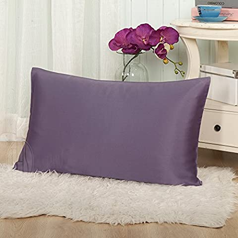 Taihu Snow 100% Pure Natural Silk Housewife Pillowcase Pillow Cover Envelope Design For Hair & Facial Beauty, 19mm Mulberry Silk, Expressive Plum by THXSILK