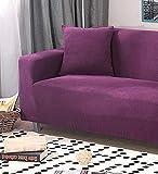 J&DSU Sofa deckt Baumwolle Rutschfeste Slipcovers Solid Farbe Stoff Möbel Protector für 1 2 3 4 Sofa,Stückweise Verkauft-Lila