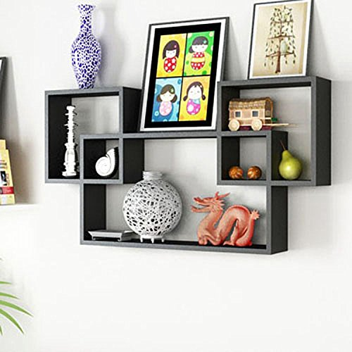 Beautiful Black Wooden Interlocked Wall Shelves