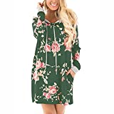LMMVP_Damen Kleid Damen Kleid ,LMMVP Frauen V-Ausschnitt Langarm Blumen Print Party Mini Kleid (S, Green)