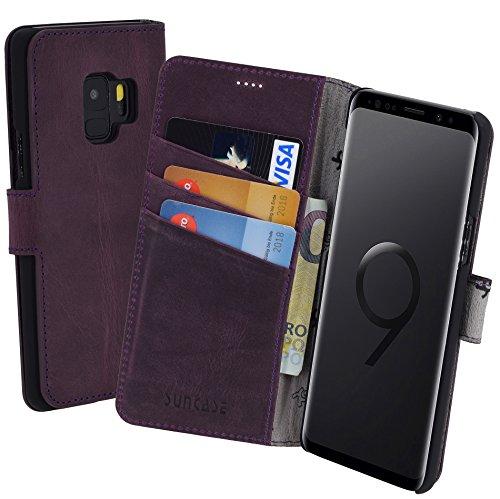 Suncase Book-Style (Slim-Fit) für Samsung Galaxy S9 Ledertasche Leder Tasche Handytasche Schutzhülle Case Hülle (mit Standfunktion und Kartenfach) antik lila
