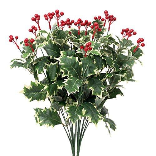 2 composizioni floreali amkun artificiali con gambi di bacche di agrifoglio e foglie natalizie, decorazione per feste in casa white green