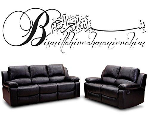 Wandtattoo Bismillahirrahmanirrahim Arabische und deutsche Kalligraphie Koran Schrift Islamische Dekoration Wandtattoos Wandaufkleber Bismillah Besmele(150 x 46 cm, Schwarz)