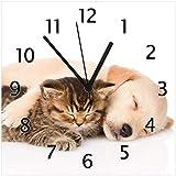 Wallario Glas-Uhr Echtglas Wanduhr Motivuhr • in Premium-Qualität • Größe: 30x30cm • Motiv: Katze und Hund in Harmonie - Kuschelnde Tiere