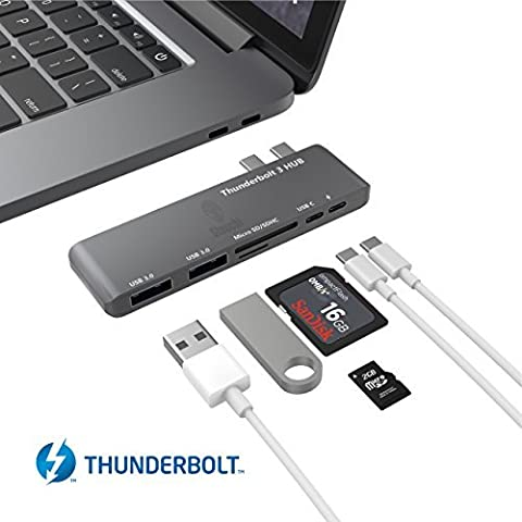 Thunderbolt 3 Hub, Stouchi USB C Hub Combo Adapter, Thunderbolt 3 Dock 40Gb / s (PD Qucik Aufladung) 6 in 1 TB3, USB-C 3.0 Anschluss, microSD / SD, 2 USB 3.1 Anschlüsse für 2016/2017 MacBook Pro 13