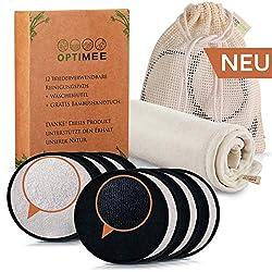 OPTIMEE 12 Waschbare Abschminkpads | Inkl. GRATIS Bambushandtuch & Wäschebeutel aus 100% Baumwolle | Wiederverwendbare Reinigungstücher | Wattepads (Schwarz/Weiß)