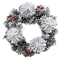 FS 32cm Artificial Frosted Snow Spruce & Pine Christmas Wreath/Candle Ring with Berries & Cones
