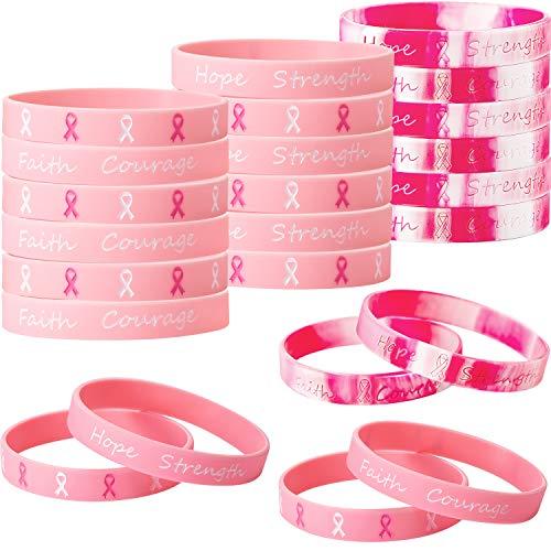 Gejoy 48 Pièces Bracelets en Silicone de Sensibilisation de Cancer du Sein Bracelets de Ruban en Rose, Bracelet en Silicone Hope Faith Strength Courage