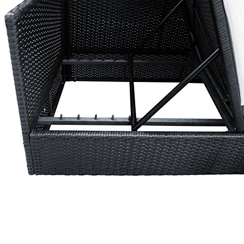 Polyrattan Liege mit Rückenlehne schwarz 7cm dicke Sitzauflagen verstellbarer Liegefläche - 3