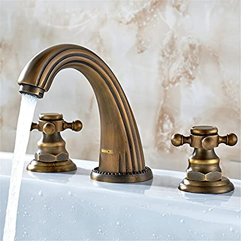 Furesnts European Pure Copper Hot and Cold Water Basin Taps American Country Body Antique Three Hole Faucet Bathroom Sink Taps,(Standard G 1/2 universal hose ports)