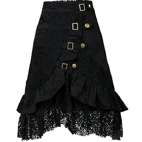Damen Steampunk Gothic Vintage Spitze Party Rock Elastischer Taillen Rock Schwarz XXL