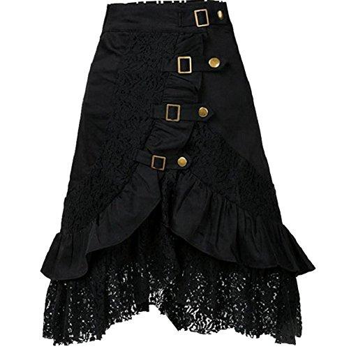 SaiDeng Mujer Punk Rock Gótico Faldas De Encaje Asimétrico Falda Negro S