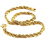 Opk Jewellery Fashion Women's Necklace 18K Yellow Gold Plated Twisted Rope Neckwear Never Fade And Anti-Allergy 18.5 Inch Length 6mm Width 38g Weight New Design Shiny GP Wedding Party Bride Gift