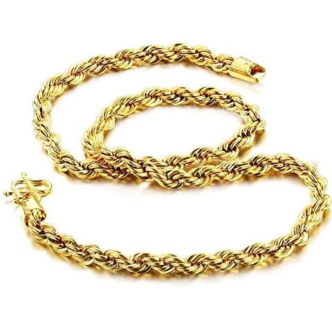 Fate Love Bijoux de luxe en corde collier chaîne plaqué or 18K hommes de 6mm coupe Diamant Bling, 47cm