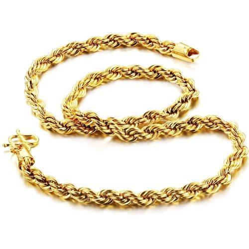 Fate Love Schmuck Luxus Seil Kette Halskette 18K vergoldet Herren 6mm Diamantschliff Bling, 47cm Western Freundschaft Armbänder
