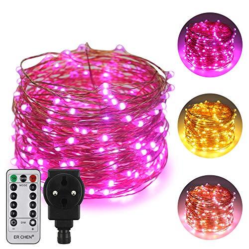 ErChen Strombetrieben Zweifarbige LED Lichterkette, 66 FT 200 LEDs-Plug in 8 Modi Dimmbare Kupfer Draht-Lichterketten mit Fernbedienung Timer für Innen Außen Weihnachten (Lila, Warmweiß) -