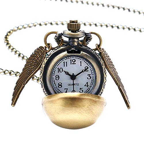 Lovelegis Halskette für Herren und Frauen - Damen Kette - Frauenhalskette - Taschenuhr - Harry Potter - Steampunk - Pocket Watch - Golden Snitch - Goldener Bogen - Engelsflügel - Bronze Farbe (Taschenuhr Halskette Flügel)