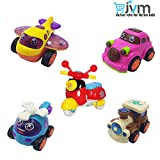 JVM Unbreakable Set of 5 Friction Powered Automobile Car Helicopter Plane Train Toys