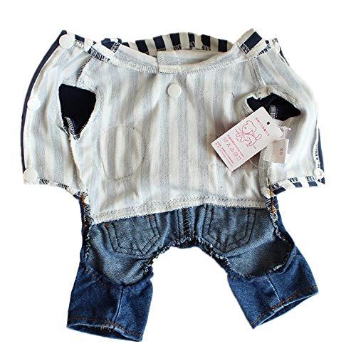 Haustierbekleidung Haustier-Kleidung-Welpen-Cowboy Vertical Stripes Clothes Dog Trikot Herbst und Winter Welpen-Hoodie-Pullover-Hundemantel (Farbe : Blau, Größe : XXL)