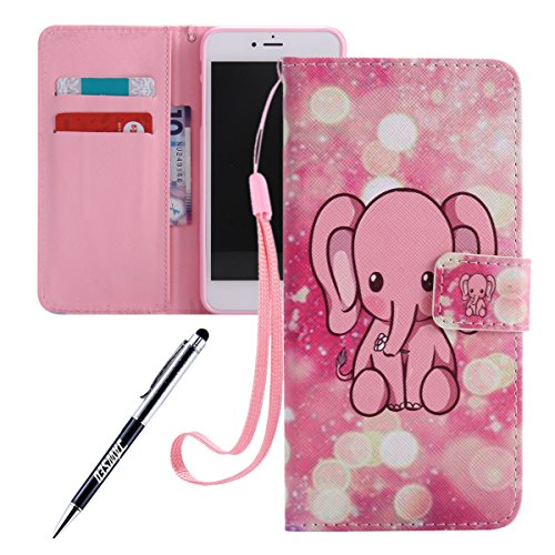 iPhone 7 Plus Ledertasche,iPhone 7 Plus 2016 Handyhülle,JAWSEU Leder Wallet Strap Brieftasche Handycover,Niedlich Pink Elefant Muster Weich Tpu innere Lanyard Folio Hüllen Schutzhülle Schutz Cases Etu Pink Elefant