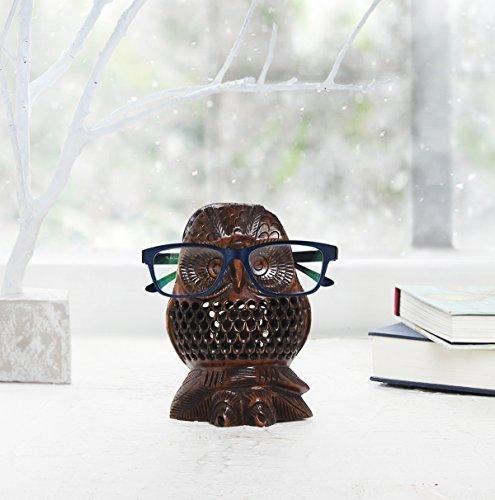 Store Indya, Hölzern Brillenhalter Mit handgemachter Eule Form Brillenständer (Brillen-halter Eule)