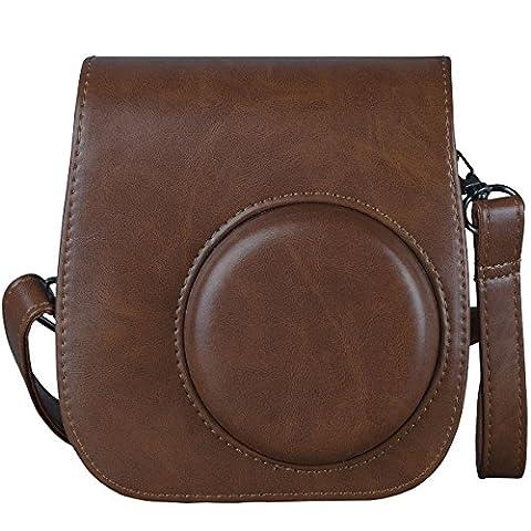 [Fujifilm Instax Mini 8/ Mini 9 Tasche] - ZWOOS Reise Kameratasche Gehäuse Taschen mit Schultergurt/Weinlese PU Leder für Fujifilm Instax Mini 8/ Mini 8S/ Mini 9 Tasche(Braun)