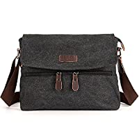 W.Best Wellington Style Retro Mens Canvas Leather Messenger Traval Shoulder Travel Hiking Camping Bag Coffee