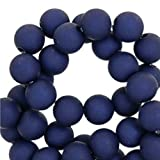 Sadingo Acrylperlen, Kunststoffperlen matt, Bunte Bastelperlen - 10 mm - 50 Stück - Armband selber Machen - Perlen Mix, Farbe:Dunkelblau