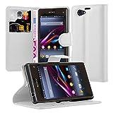 Cadorabo Hülle für Sony Xperia Z1 Compact Hülle in Handyhülle mit Kartenfach und Standfunktion Case Cover Schutzhülle Etui Tasche Book Klapp Style arktis Weiß