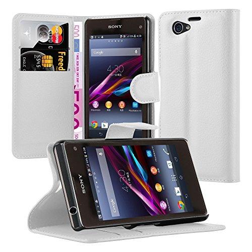 Preisvergleich Produktbild Cadorabo Hülle für Sony Xperia Z1 Compact Hülle in Handyhülle mit Kartenfach und Standfunktion Case Cover Schutzhülle Etui Tasche Book Klapp Style arktis Weiß