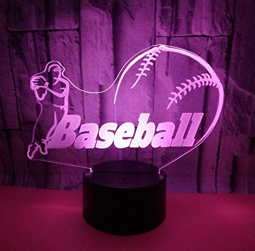 Nachtlicht Baseball Sensor Licht Mobile Power Cut Tischlampe Touch Switch 7 Farbwechsel Baseball-mobile