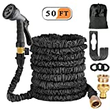 Liwiner 50ft Expandable Garden Hose Pipe, Flexible Expanding Water Hose With Fashion Brass