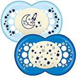 MAM Night Glow in The Dark Soother Suitable 12 Months with Sterilisable Travel Case - Pack of 2, Blue(Designs May Vary)