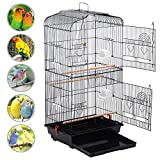 Popamazing Large Metal Bird Cage for Budgie, Cockatiel, Lovebirds etc. 46L x 36W x 92 cmH (Black)