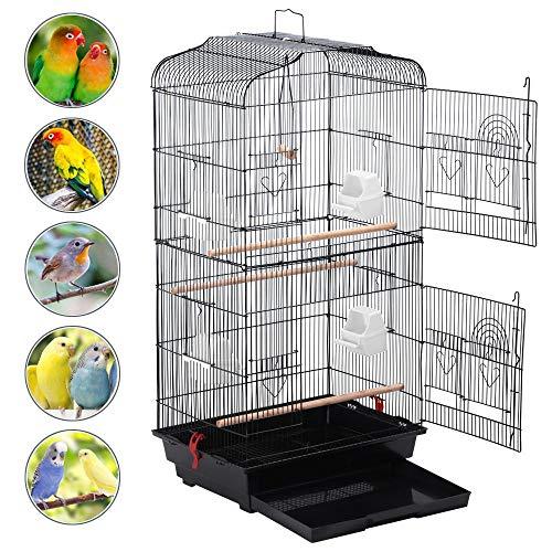 Yaheetech Gabbia Voliera per Uccelli Pappagalli in Metallo e Legno con Molte Porte e Posatoi 46 x 36 x 92 cm Nera