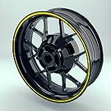 OneWheel Felgenrandaufkleber 6mm Motorrad & Auto (15-19 Zoll) - Farbe wählbar - 10 Felgenstreifen für Vorder- & Hinterreifen (Gelb - glänzend)
