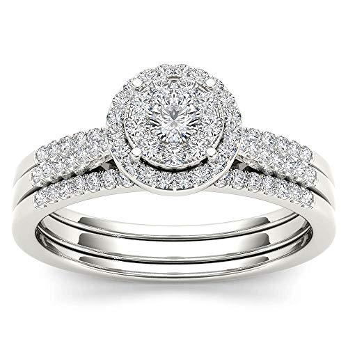 Anello di fidanzamento nuziale a fascia, set nuziale in vero oro 10 carati, con anello rotondo da 1/2 cttw (i2-clarity-h-i-color) e 10ct oro bianco, 18,5, cod. hr-rb5667-8.5-w