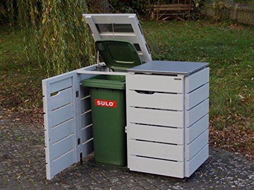 2er Mülltonnenbox 120 L, Holz / Edelstahl – Deckel, Douglasie Natur - 3