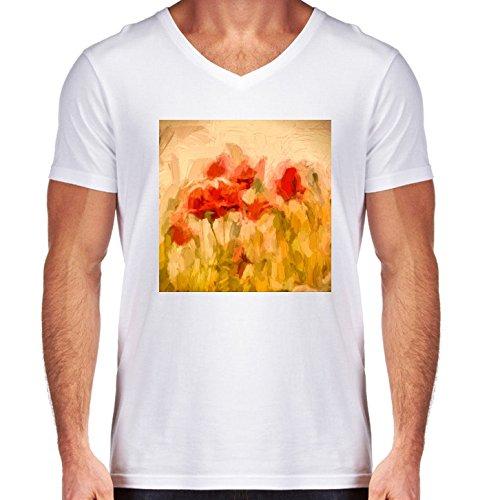 t-shirt-pour-homme-blanc-col-v-taille-l-champ-de-mais-dor-avec-des-coquelicots-by-utart