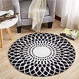 TRNMC Anti-Rutsch-Runde Teppich Polyester-Material Schwarz und Weiß Passt in das Wohnzimmer Schlafzimmer, 120,180 cm