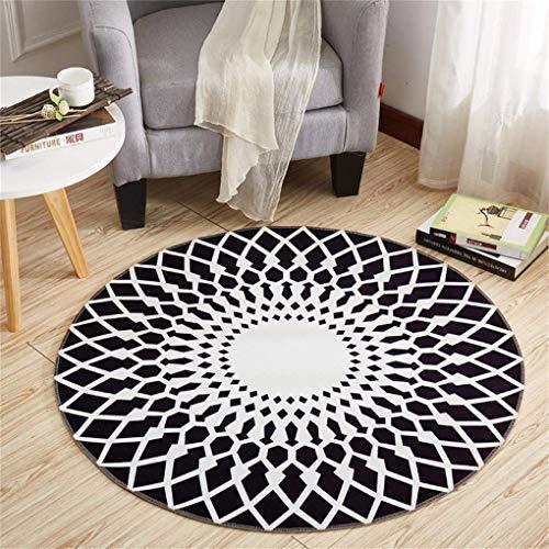TRNMC Anti-Rutsch-Runde Teppich Polyester-Material Schwarz und Weiß Passt in das Wohnzimmer Schlafzimmer, 120,160 cm -