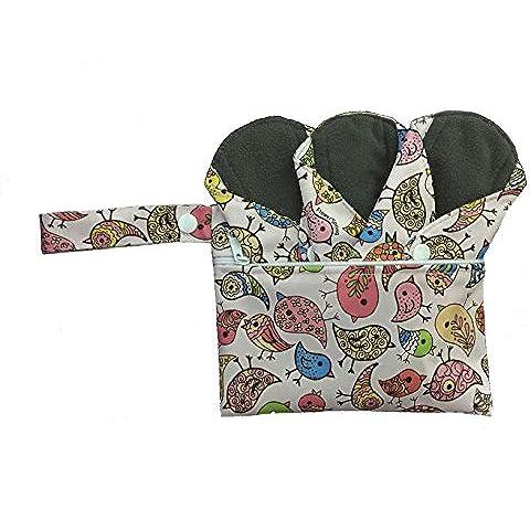 DUTCHESS paño reutilizable Panty Liner Set de 3con a juego Wet Bolsa–reutilizable Panty Liner para luz vejiga fuga o compresa de absorción de carbón de flujo de Menstrual luz–con capa para evitar fugas, olores y manchas