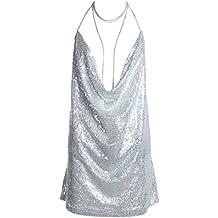 Vestido de mujer Domybest con lentejuelas, espalda abierta y gargantilla de cadena, color plata