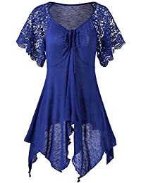 ESAILQ Frauen Verband Hohe Taille Kurzarm Lace Floral Patchwork unregelmäßigen Minikleid