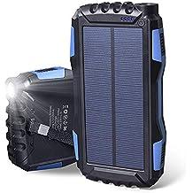 Soluser Cargador Solar Portátil con 25000mAh, Batería Externa Solar Batería de Emergencia Cargador Solar con