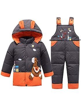 SANMIO Kinder Schneeanzug 2tlg Mädchen Jungen Süß Daunenjacke mit Kaputze und Daunenhose Jacket Bekleidungsset